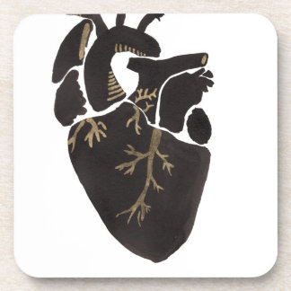 Black Anatomical Heart Beverage Coaster