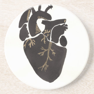 Black Anatomical Heart Drink Coaster