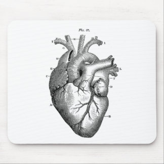 Black Anatomical Heart Mouse Pads