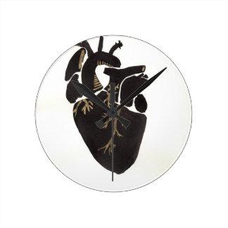 Black Anatomical Heart Round Clock