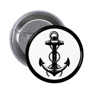Black Anchor Double Rope Pinback Button
