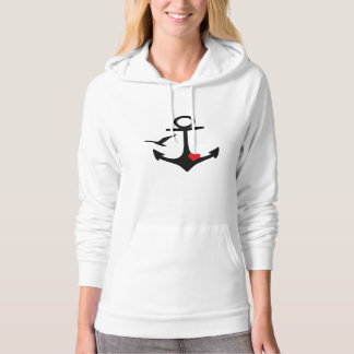 Black Anchor heart and seagull Hoodie