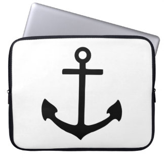 Black Anchor Laptop Sleeves