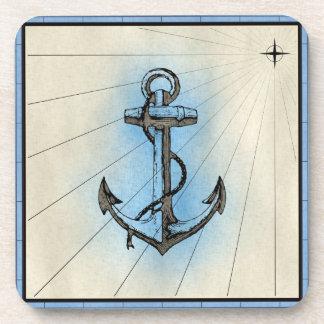Black Anchor Marine Print with Blue Frame Beverage Coaster