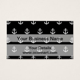 Black anchor pattern business card