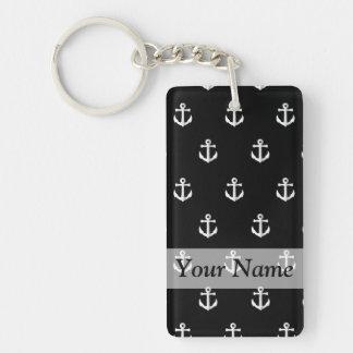 Black anchor pattern keychain
