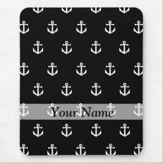 Black anchor pattern mouse pad
