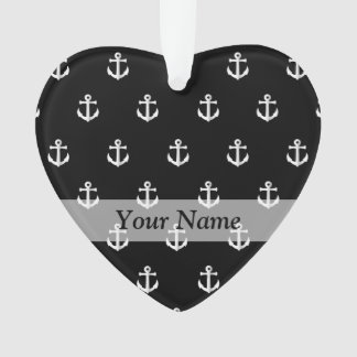 Black anchor pattern ornament
