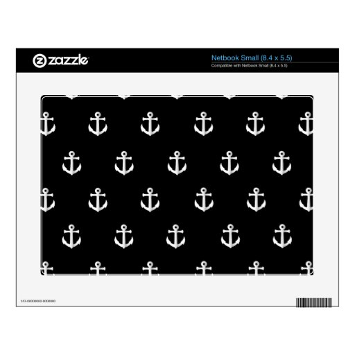 Black anchor pattern small netbook decal