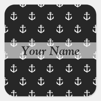 Black anchor pattern square sticker