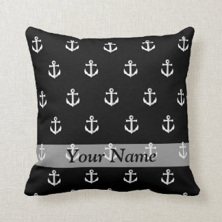 Black anchor pattern throw pillow