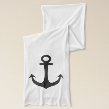 Beach Themed Black Anchor & Red  Hearts Scarf