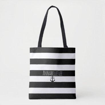 Beach Themed Black Anchor Tote Bag
