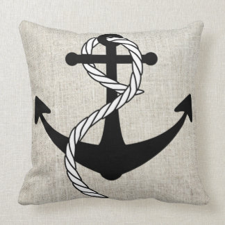 Black Anchor with rope Linen Burlap Throw Pillow
