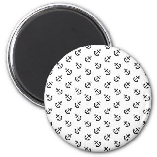 Black Anchors White Background Pattern 2 Inch Round Magnet