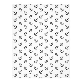 Black Anchors White Background Pattern Full Color Flyer