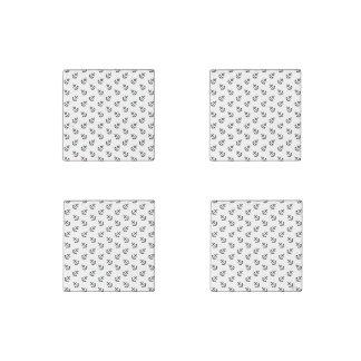Black Anchors White Background Pattern Stone Magnet