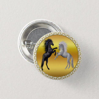 Black and a white Horse that are fighting Button