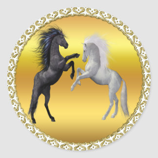 Black and a white Horse that are fighting Classic Round Sticker