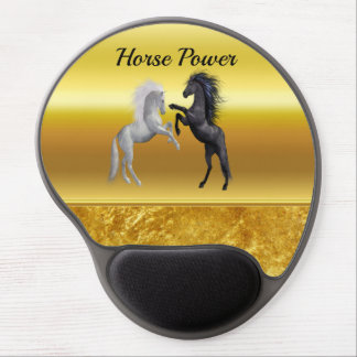 Black and a white Horse that are fighting Gel Mouse Pad