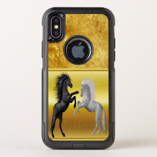 Black and a white Horse that are fighting OtterBox Commuter iPhone X Case