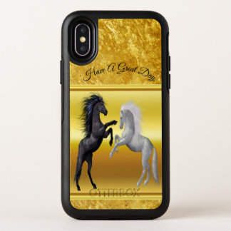 Black and a white Horse that are fighting OtterBox Symmetry iPhone X Case
