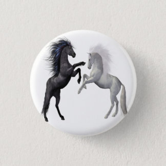 Black and a white Horse that are fighting Pinback Button