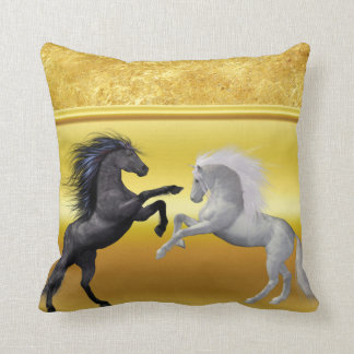Black and a white Horse that are fighting Throw Pillow