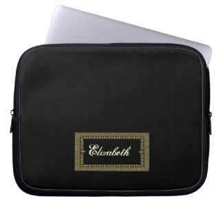 Black and Antique Gold Custom Name Laptop Sleeve