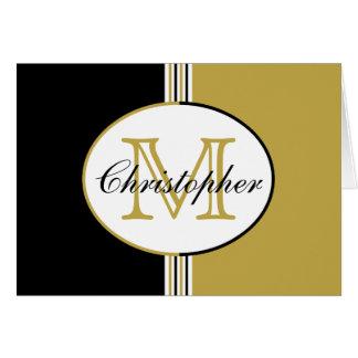 Black and Antique Gold Stripes Monogram Card