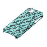 Black and aqua blue trendy mustache pattern iPhone 5 cases