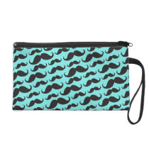 Black and aqua blue trendy mustache pattern wristlet