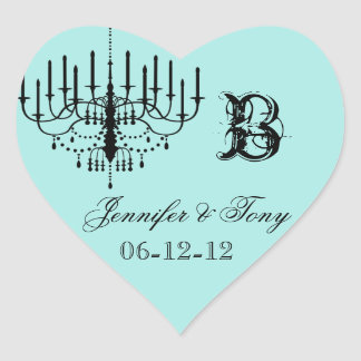 Black and Aqua Chandelier Custom Heart Stickers