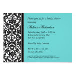 Black and Aqua Damask Bridal Shower Invitation