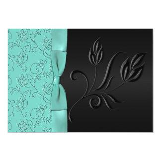 Black and Aqua Floral FAUX Ribbon Wedding Invite