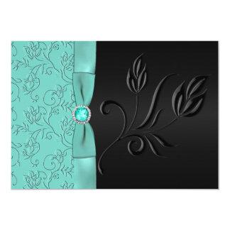 Black and Aqua Floral, Jewels Wedding Invitation