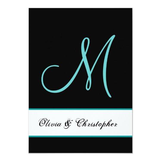 Black and Aqua Monogram Damask Wedding Card