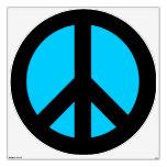 Black and Aqua Peace Sign Room Decals