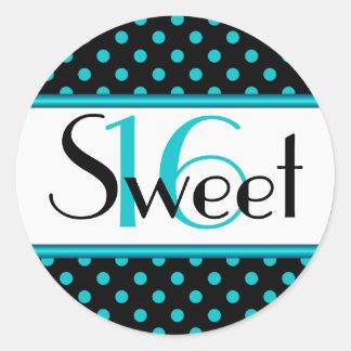 Black and Aqua Polka Dot Sweet 16 Sticker