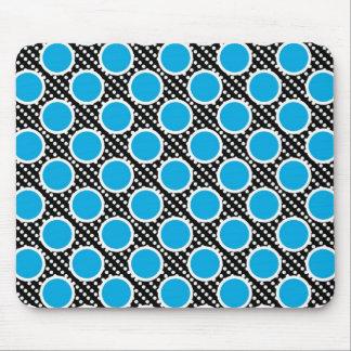 Black and Aqua Polka Dots Mouse Pad