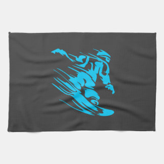 Black and Aqua Snowboarder Silhouette Towel