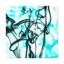 Black and Aqua Teal Abstract Smoke Pattern Canvas Print