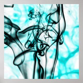 Black and Aqua Teal Abstract Smoke Pattern Poster