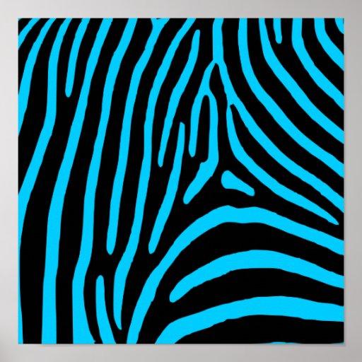 Black and Aqua Zebra Stripes Print