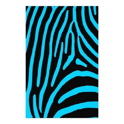 Black and Aqua Zebra Stripes Stationery