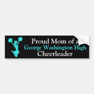 Black and Aquamarine Cheer Mom Bumper Sticker