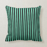 [ Thumbnail: Black and Aquamarine Striped/Lined Pattern Pillow ]