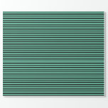 [ Thumbnail: Black and Aquamarine Striped/Lined Pattern Wrapping Paper ]