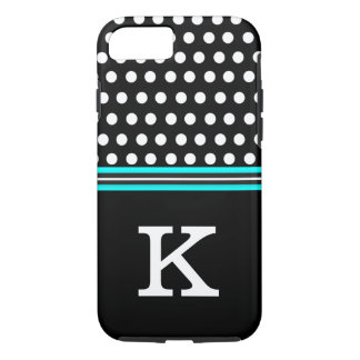 Black and Aque Blue With White Polka Dots Monogram iPhone 7 Case