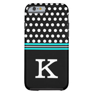 Black and Aque Blue With White Polka Dots Monogram Tough iPhone 6 Case